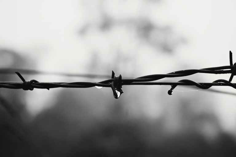 barbed wire black and white blur close up